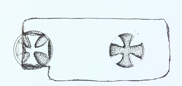 Drawing of a cross incised in stone that probably came from a Byzantine monastery